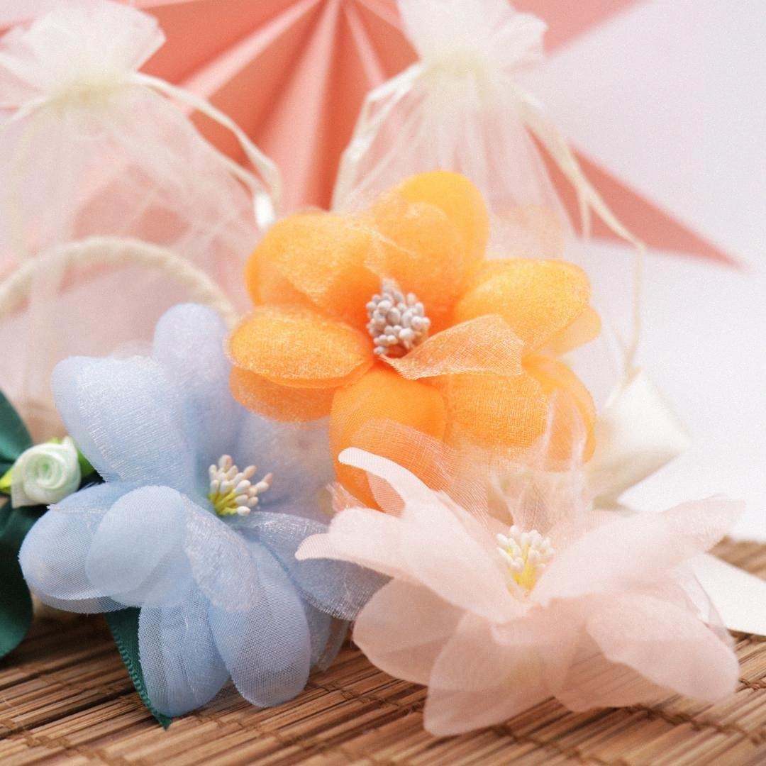 10pcs 8.8x8.8cm Yapay Çiçek İnci İpek Erik Çiçek Başkanı Şapka Dekorasyon DIY Çelenk Hediye Kutusu Küçük Resim Sahte Çiçekler FS9J #