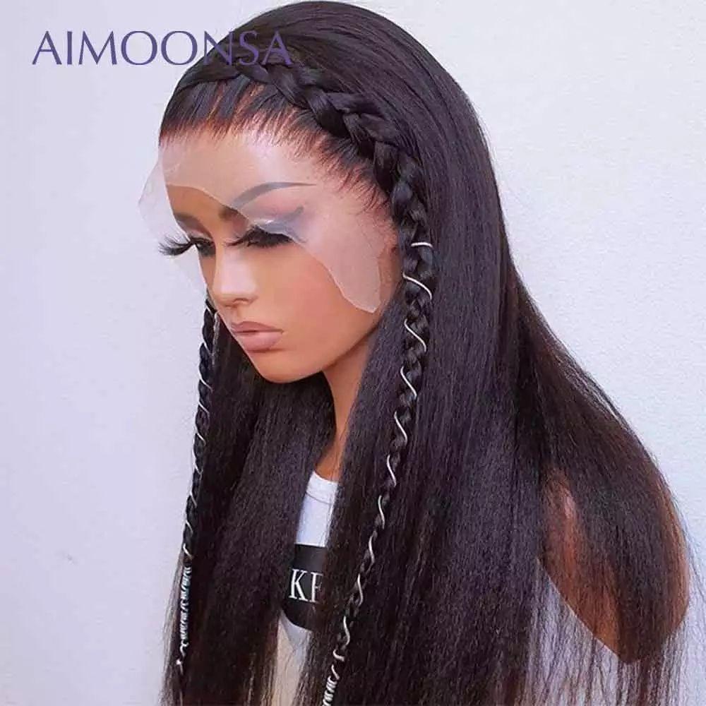 30 pollici Kinky Straight 13x4 pizzo parrucca frontale parrucca di capelli umani parrucche anteriore in pizzo sintetico parrucca italiana Yaki parrucca di pizzo yaki per le donne africa