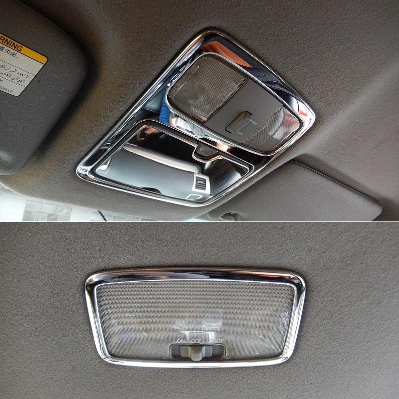 Frente de aço inoxidável e Traseira Teto Telhado Light Reading Lamp guarnição da tampa Quadro Para Land Cruiser Prado J120 2003 2009 batida de carro Interio m2NZ #