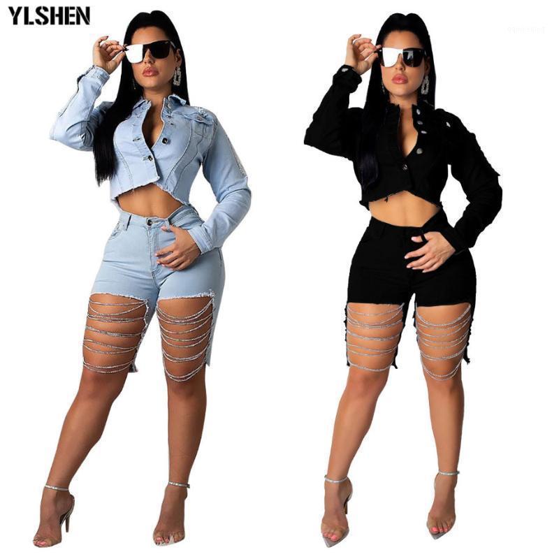Dress Due Pnets Plus Size 2 Set Donne Sexy Denim Denim Giacca a catena Abiti Tute Tracksuit Casual Manica Lunga Jeans Crop Top Pantaloncini Outfits1
