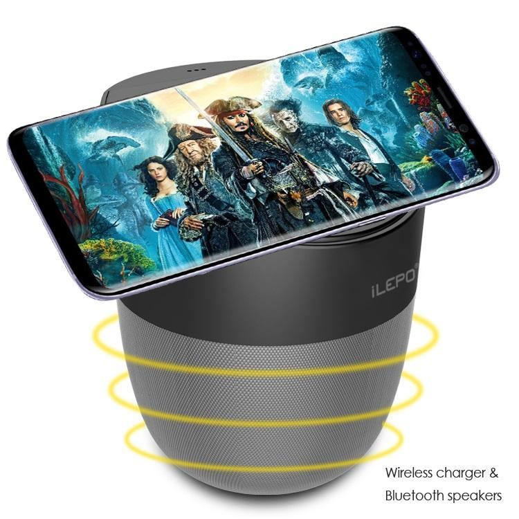 1 Piece! Wireless Charger Speaker Qi-enabled Fast Charger Stereo Bluetooth Speaker Portable Subwoofer With 1800mAh Battery Retail Package