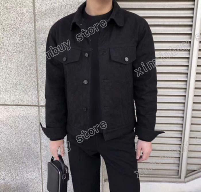 man designers clothes Jackets paris Jacquard letter Denim coat casual mens winter coats mens jacket black 05