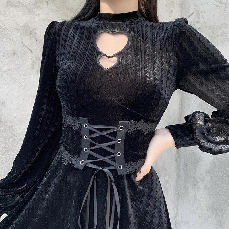 Goth Vintage Sexy Hollow Out Black Dress Gothic Высокая талия Корсет Бандаж Платье Женщины Элегантные Платья Партии с длинным рукавом # UR0N