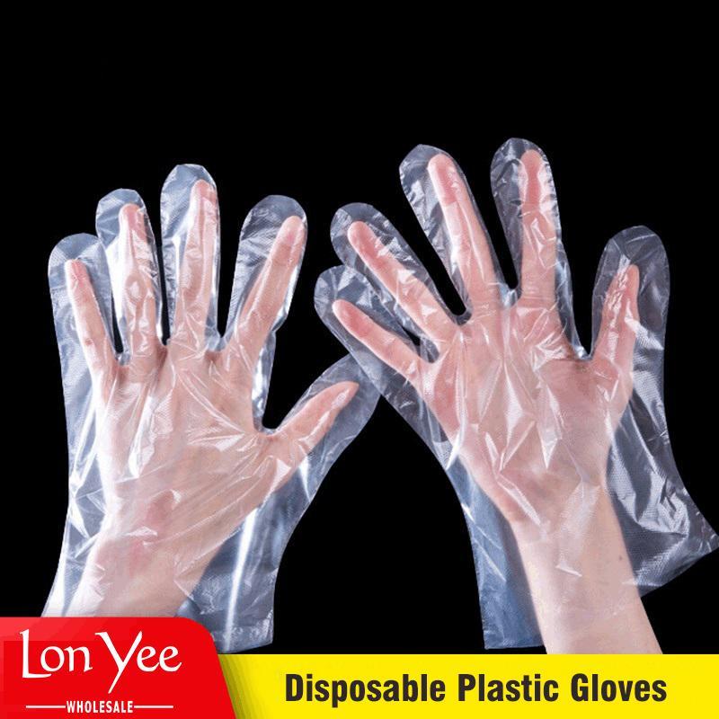 100pcs / sac Polyéthylène PE Polyéthylène Jetable Gants transparents de qualité alimentaire Gants en plastique Catering Beauty Gants jetables épaissi yl0061