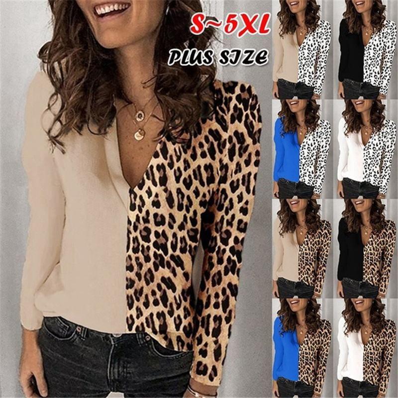 Рубашки женские блузки леопардовые печать шифон блузка топы для женщин офис леди элегантные плюс размер одежда осенью повседневная V шеи с длинным рукавом