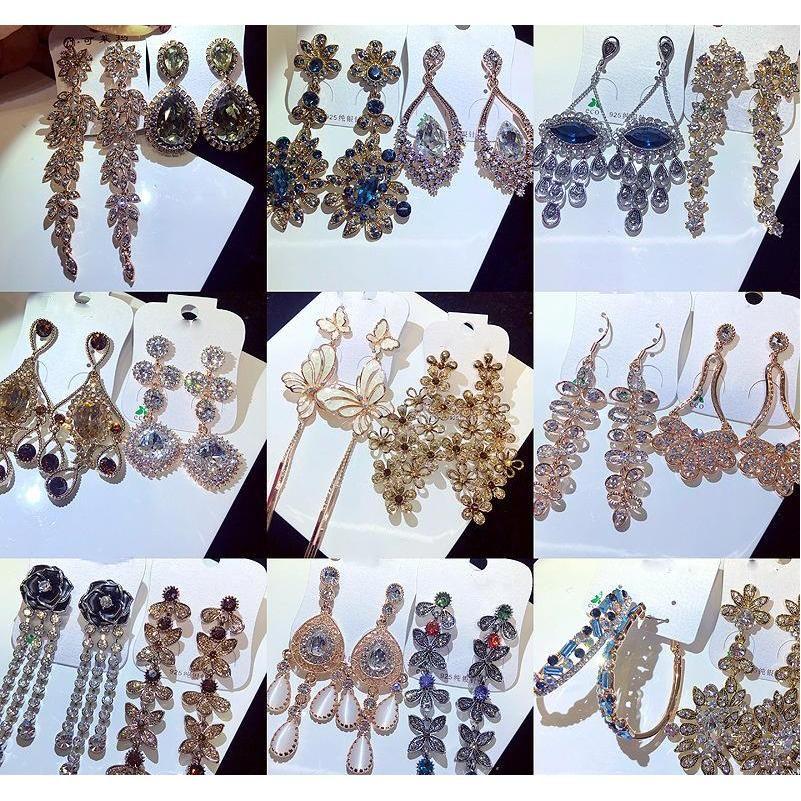 Nuevo estilo europeo Americano Dorado Pendientes de diamante de color checo Pendientes de borla larga Pendientes Batc MIXT WMTSGQ DH_Seller2010