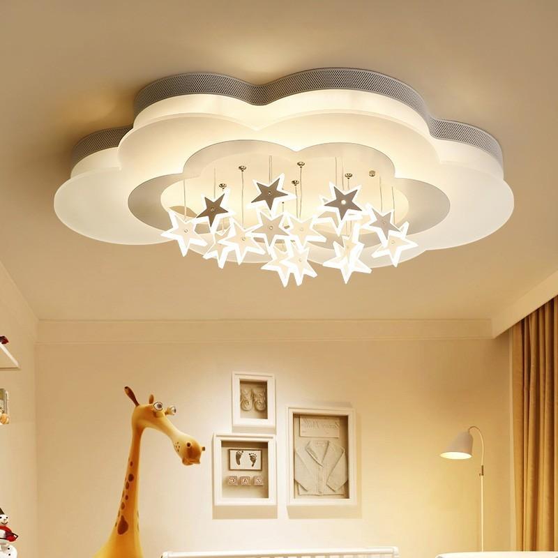 Simple moderna del techo de la lámpara dormitorio principal ilumina la personalidad creativa de la nube de la estrella de iluminación Niño Niña habitación Niños Lámparas de techo Lámparas