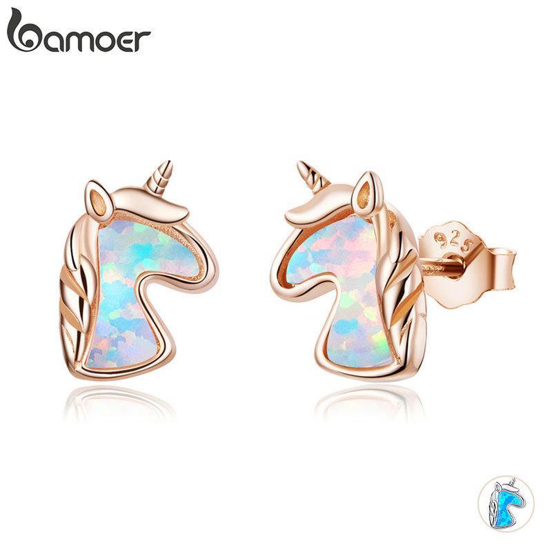 Bamoer 2 Renk Opal Licorne Saplama Küpe Kadınlar için 925 Ayar Gümüş Moda Takı Brincos Dropshipping SCE815 201113