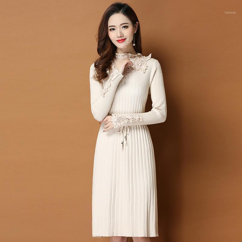 Fashion Lace Beaded Knit Dress Women New Autumn Winter Clothing Long Sleeve Pullover Pull Knit Sweater Midi Dress Plus Size 9391