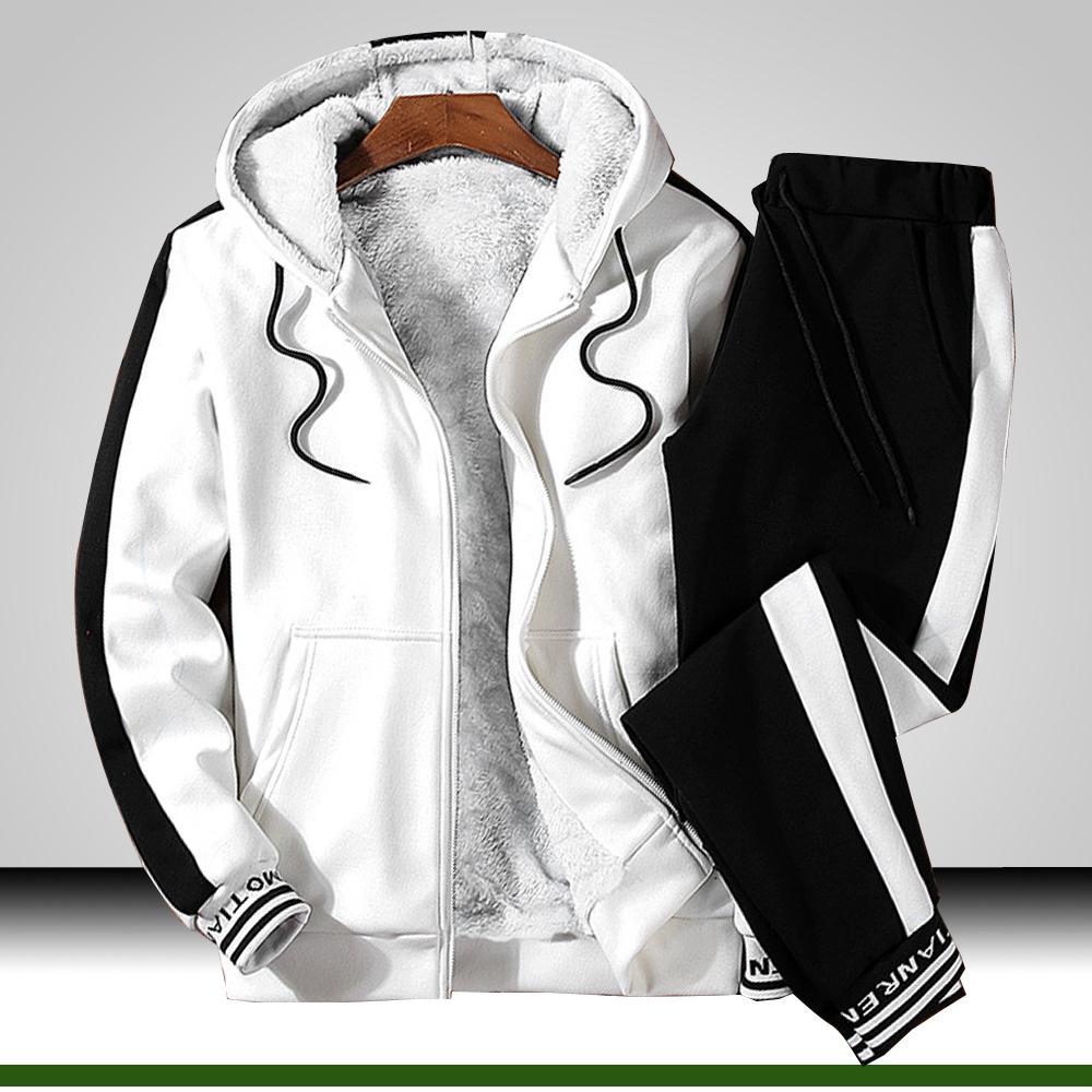 Hombres chándal ropa de invierno 2 piezas Set sudaderas y pantalones Set hombre de piel caliente forrado gimnasio ropa de jogging juego de los hombres Sweatsuit invierno 201012