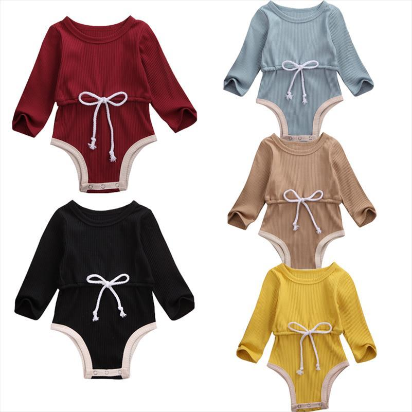 US Stock 0 24M Newborn Baby Boy Girl Tops Bodysuit Long Sleeve Cotton Solid Jumpsuit Pants Outfits Clothes