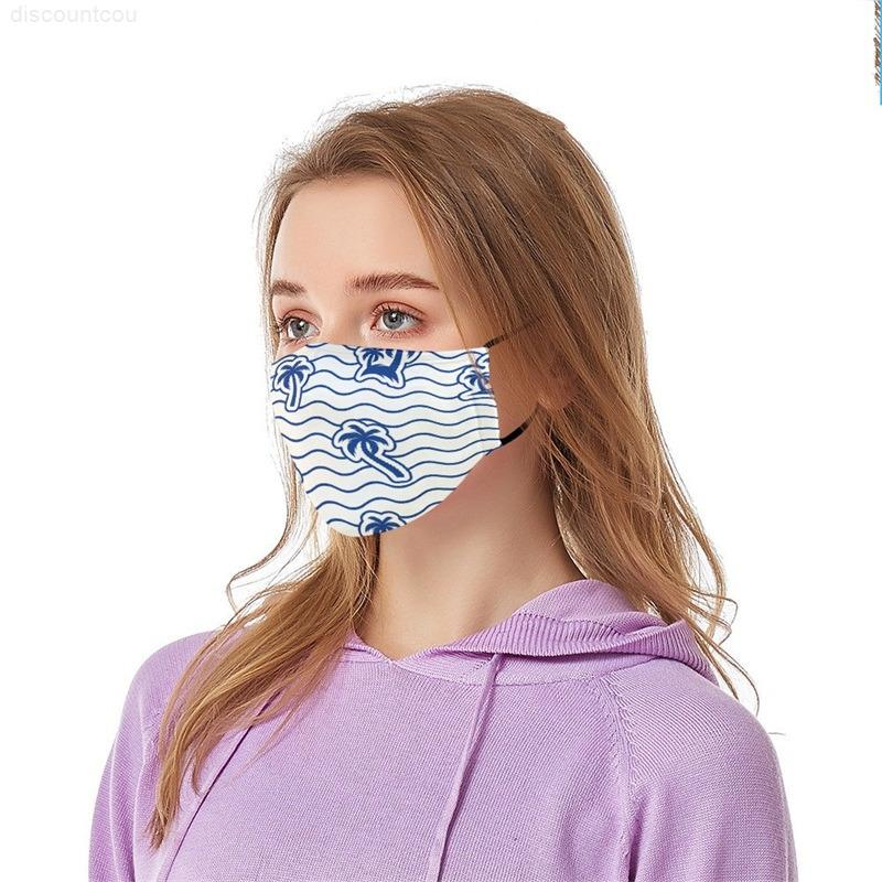 Reutilizável anti dust Máscara de Mascarilla Máscara Máscara Respirador Rosto Verão Palm Wave Algodão Pano Adulto PODE PM2.5 Filter 5 88BAC