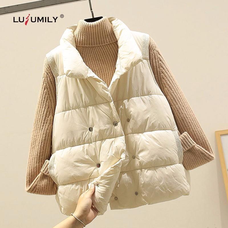Tops Lusumily Moda Mulheres Coletes Inverno 2020 Fique Collar Curto Colete de algodão acolchoado mangas Jacket Neve fêmea menina Vest