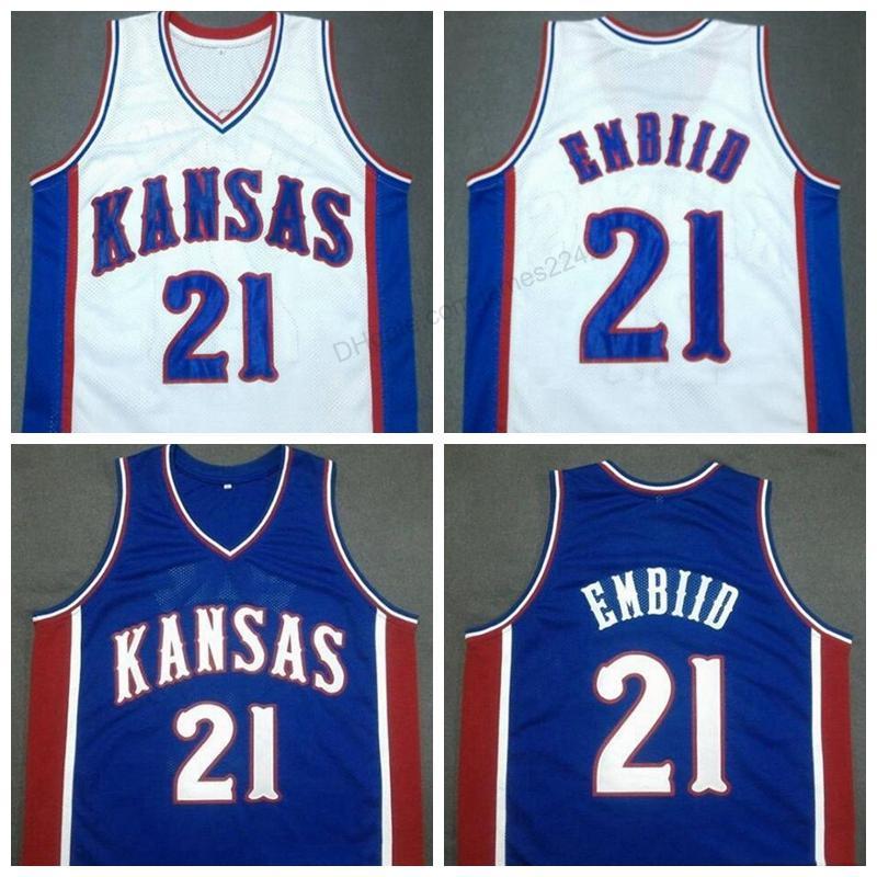 2021 Cheap Custom Retro JOEL EMBIID #21 Kansas Jayhawks Basketball ...