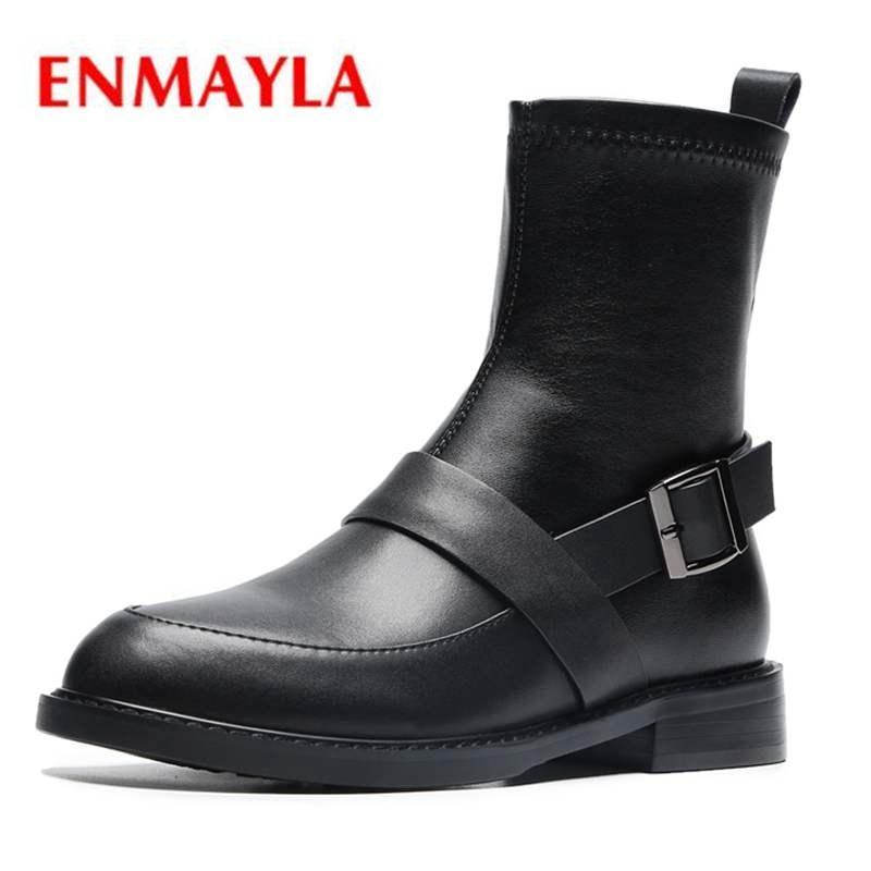 Boots Enmayla Основные круглые носки скольжения на лодыжку женщин ботас муджер обувь женщина Size34-40 Zyl1611