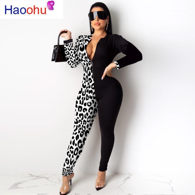 여성용 Jumpsuits Rompers Leopard Splice 긴 소매 Bodycon Jumpsuit 여성 가을 패션 루퍼 섹시한 의상 원피스 한 조각 의상 우아한 ro