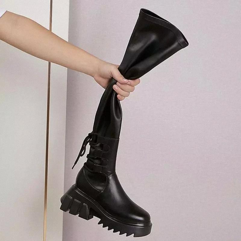 2021Sexy Leather Thigh High Boots Women High Heels Over The Knee Boots For Women Round Toe Party Long Shoes Cross-tied #CN4M