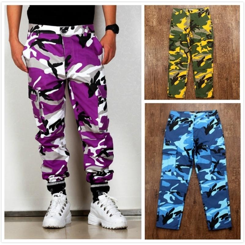 Colore Camo BDU BDU Pantaloni merci da uomo Donne Donne Donne Casual Streetwear Tasche Jogger Arancione Tactical Sweatspants Hip Hop Pantalone Y201123