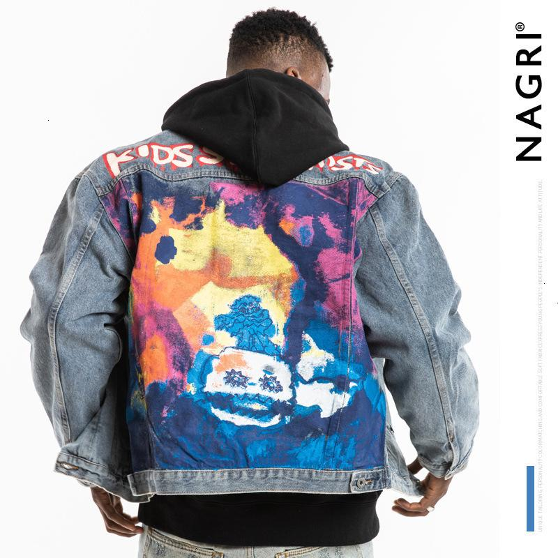 Nagri fashion boys meet ghost graffiti smiley print hip hop Street worn men's denim jacketEP2C