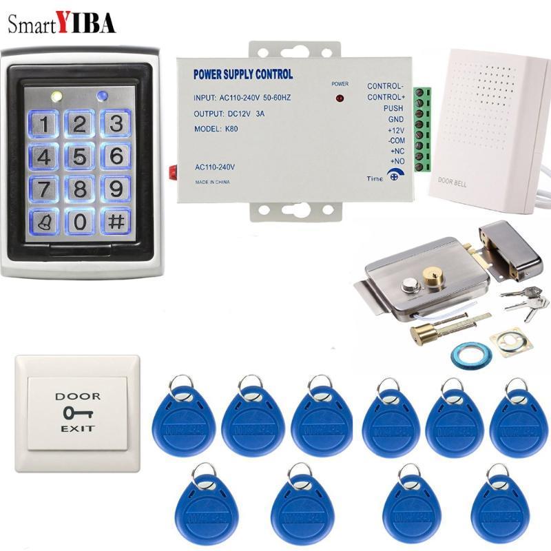 Fingerprint Access Control SmartYIBA Metal Waterproof Door System+10pcs RFID Keys Gate Opener Max Up To 2000 Users Password Lock Kits