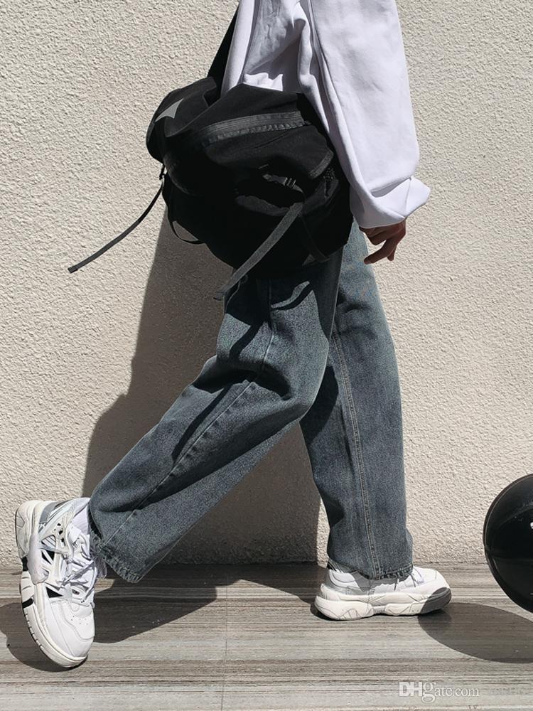 Primavera e autunno a gamba larga Jeans Uomo diritto allentato autunno pantaloni di stile coreano Trend tutto-fiammifero pantaloni vecchi