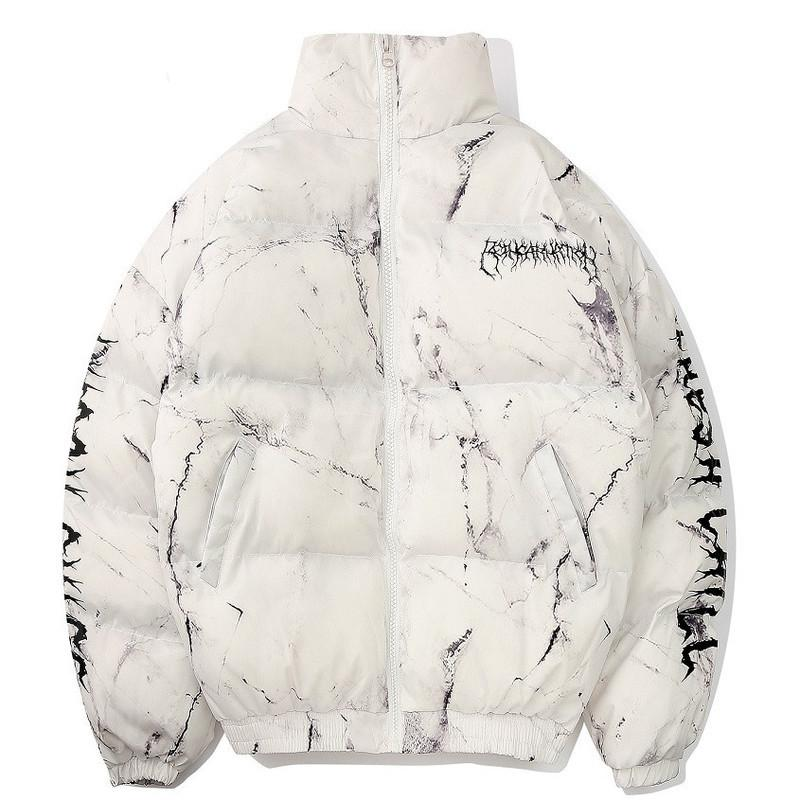2020 Winter Hip Hop Down Coat Men Texture Anime Printed Zipper Pockets Outwear Thick Warm Padded Jacket Fashion Harajuku Parkas