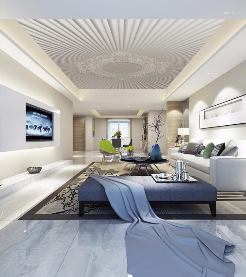 Moderno 3d foto papel de parede branco tetos parede papéis home decoração interior decoração sala de estar teto relevância de teto1