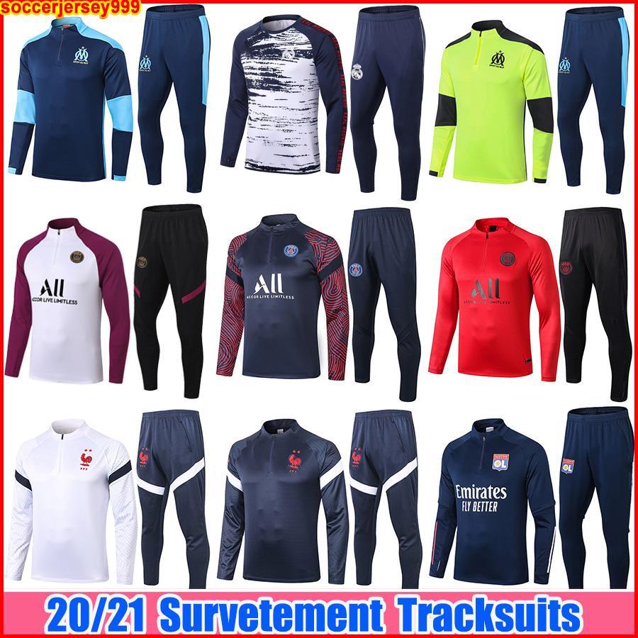 2021 Survêtement de football maillots Real Costumes d'entraînement om Paris Survetement Maillot de Foot ensembles veste jogging la