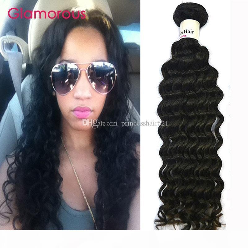 Glamorous Haarwebart billige menschliches Haar 1 Stück Natürliche Farbe Virgin Brasilianische Malaysische Peruanische indische lockige Haarverlängerungen für schwarze Frauen