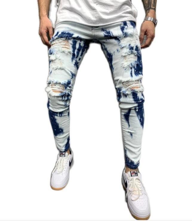 Европа международной торговли 2020 осень новых людей нерегулярные промытые отверстие джинсы соответствия цвета тенденции вскользь гетры