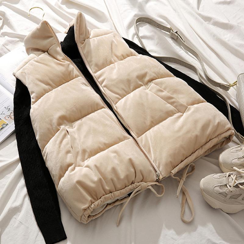 Gilets pour femmes Golden Velvet Femmes Courts Vest Eductionnelle Léger Hiver Hiver Plus Taille Taille 2XL Gilet Femelle manteau sans manches