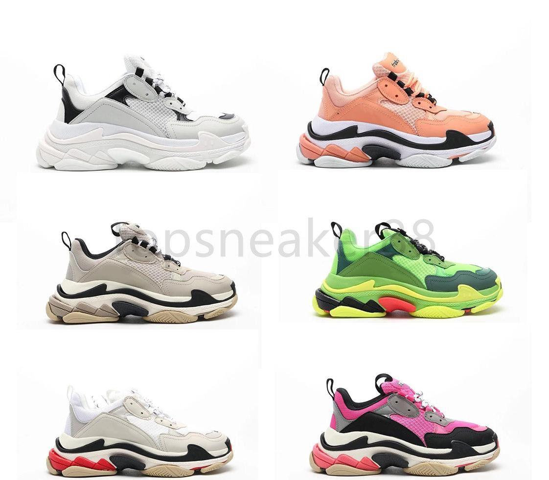 Yüksek Kaliteli Moda Ayakkabı Paris 17fw Kaktüs Metal Altın Modelleme Sneaker Üçlü S Beyaz Büyük Rahat Ayakkabılar Tenis Siyah Kırmızı Erkekler ve Kadınlar Sho