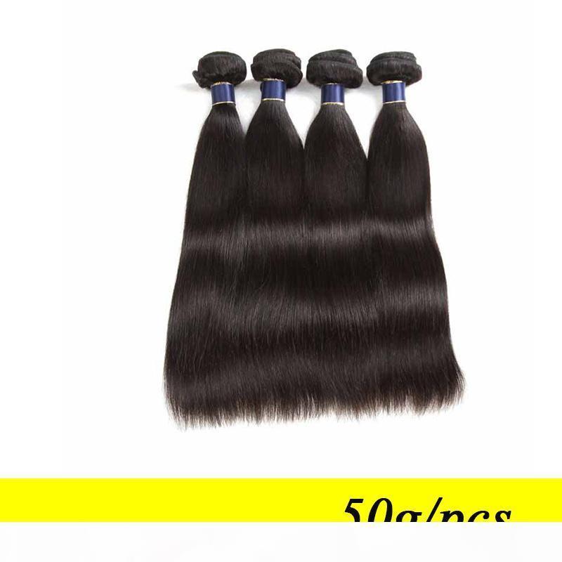9A gerade reines Haarbündel Unverarbeitete brasilianische glatte Haare webt billige peruanische malaysische indische menschliche Haarverlängerungen 50g PCs