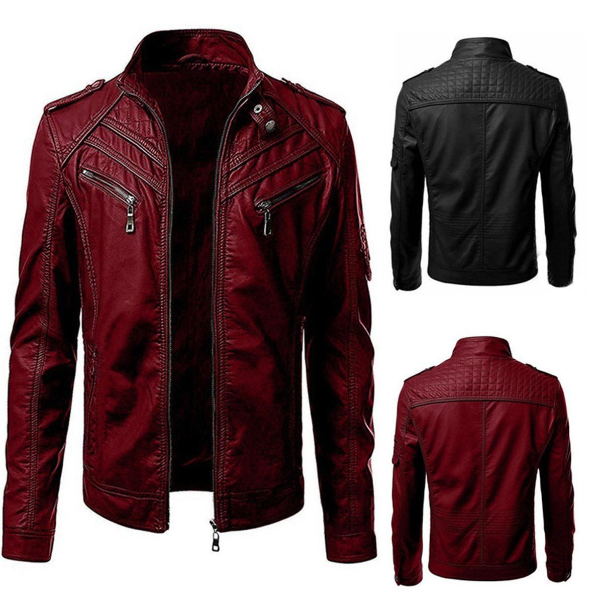 Veste en cuir d'automne pour hommes Slim Ajustement Stand Stand Collier Zipper PU Moto léger Manteau Locomotive Style Spring
