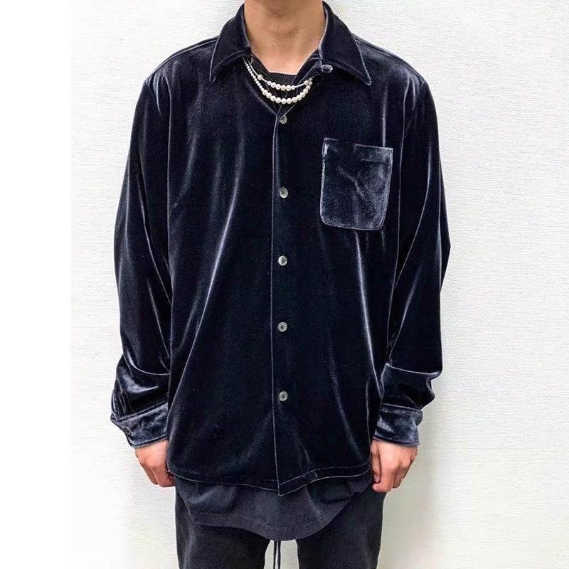 2021 Новая High Street Щит сплошных повседневных флисовых рубашек Мужские пружинные карманы Свободные негабаритные рубашки Harajuku Hip Hop Baggy Tops UXCR