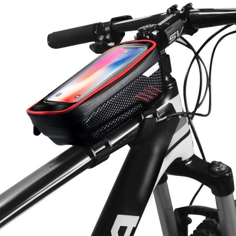 Satış Sıcak Dağ Bisikleti Yağmur Geçirmez Su Geçirmez MTB Ön 6.2 inç Cep Telefonu Kılıfı Bisiklet Üst Tüp Çanta Bisiklet Aksesuarları