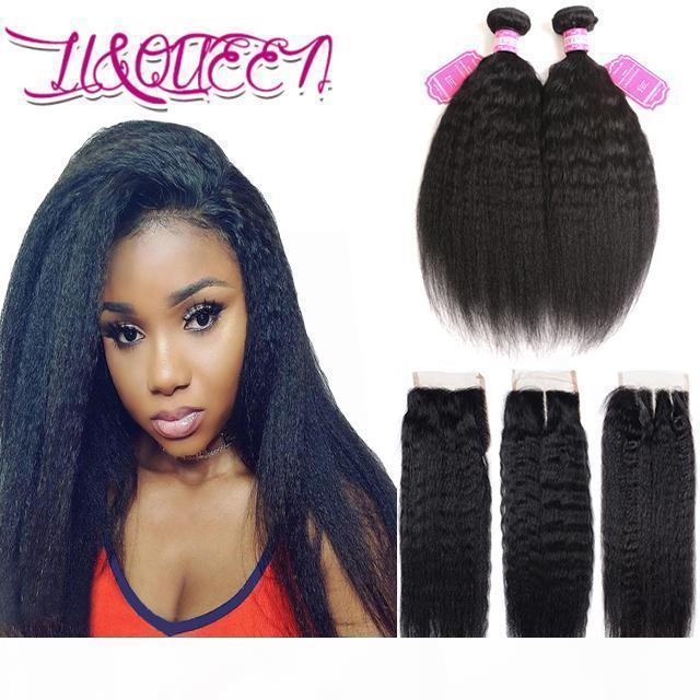 3pcs Virgin Malaysian 3pcs Thuman Hair Extensions Kinky Dritto di colore naturale Doppia trama ondulata 2 pacchi con chiusura a pizzo 4x4 capelli umani
