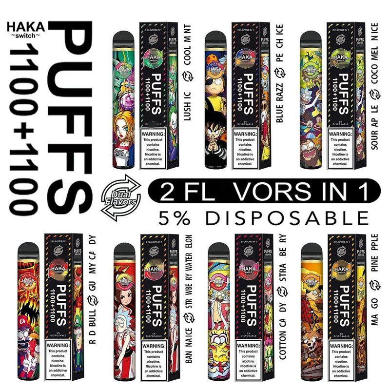 ORIGINAL HAKA 2200PULS DESPUÉS DE VAPE DE VAPE DE VAPE 1100 + 1100 Puffs 2-en-1 Cartucho de soplo Vaporizador E Cigarrillos E Kit de inicio Double Flavors