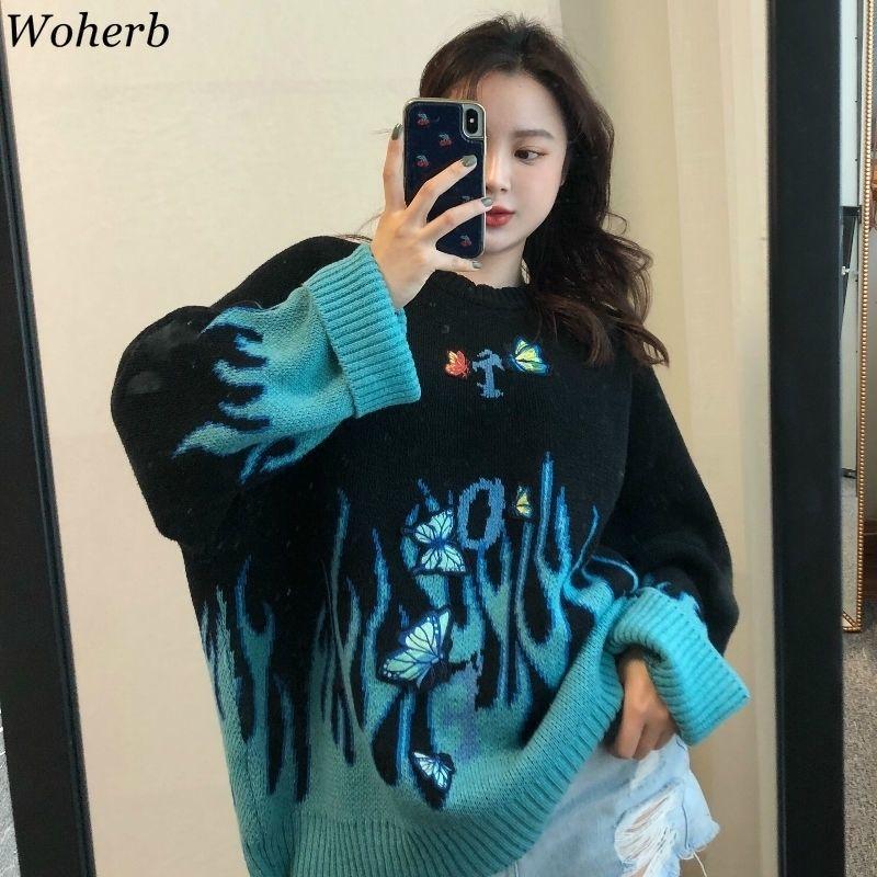 Woherb осень зима хараджуку пламя вязать свитер бабочка аппликация женщин пуловер повседневная свободные свитера уличная одежда джемпер 201128