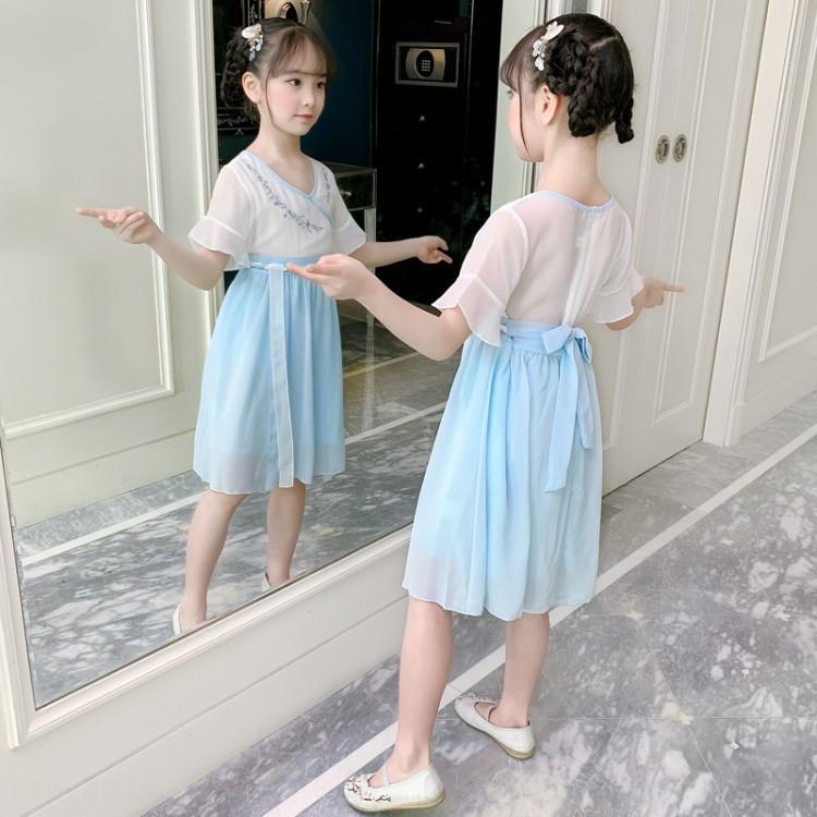 Kız Yaz 2020 çocuk Çin tarzı antik Ru Elbise takım elbise eski Tang costumeskirt kızın Tang Elbise Küçük Han takım moda G örmek