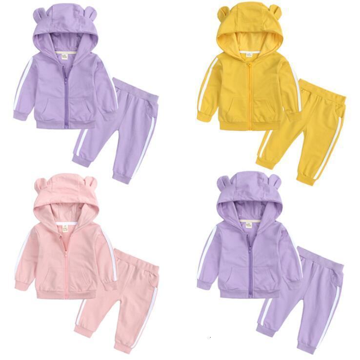 Baby Clothes Tracksuit Girls Hooded Tops Kids Designers Sets Autumn Cartoon Hoodies Pants Outfits Infant Suits SEA DHC4909