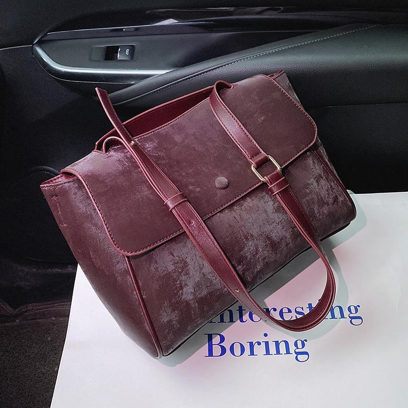 Scrub Leder Schultertasche für Frauen 2020 Winter-Branded Crossbody Dame Handbags Female Trending Luxus-Handtasche