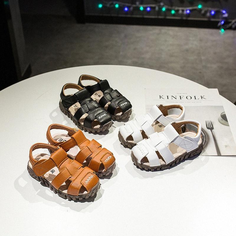 Yaz çocuk ayakkabıları ayak yürümeye başlayan çocuklar sandaletler kapalı ortopedik spor pu deri erkek bebekleri sandalet ayakkabı B001 XNdv #