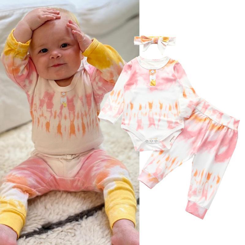Zestawy odzieżowe Jesień Baby Boys Girls Tie-Dye Drukuj Okrągły Neck Z Długim Romper Romper + Spodnie + Opaska