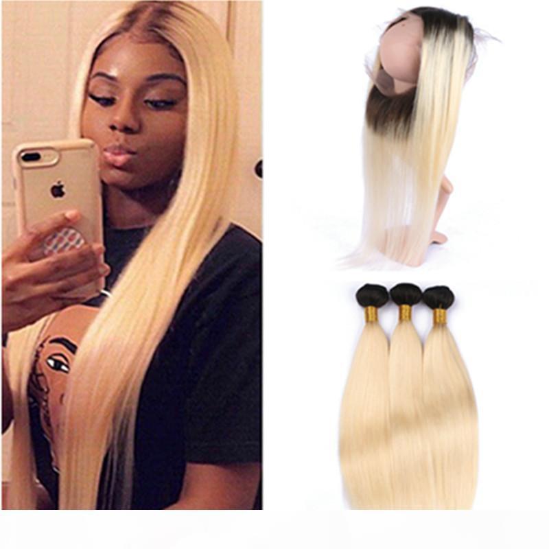 Düz Blonde Ombre Brezilyalı İnsan Saç 360 Dantel Frontal 22.5x4x2 # 1B 613 Ombre Full Frontal 3Bundles ile 360 Dantel Kapanış ile