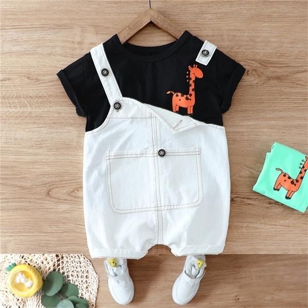 HYLKIDHUOSE Sommer-Baby-Mädchen Junge Kleidung Sets Kurzarm T-Shirt Denim Trägerhose Kinder Kinder Lässige Kleidung Urlaub X0923