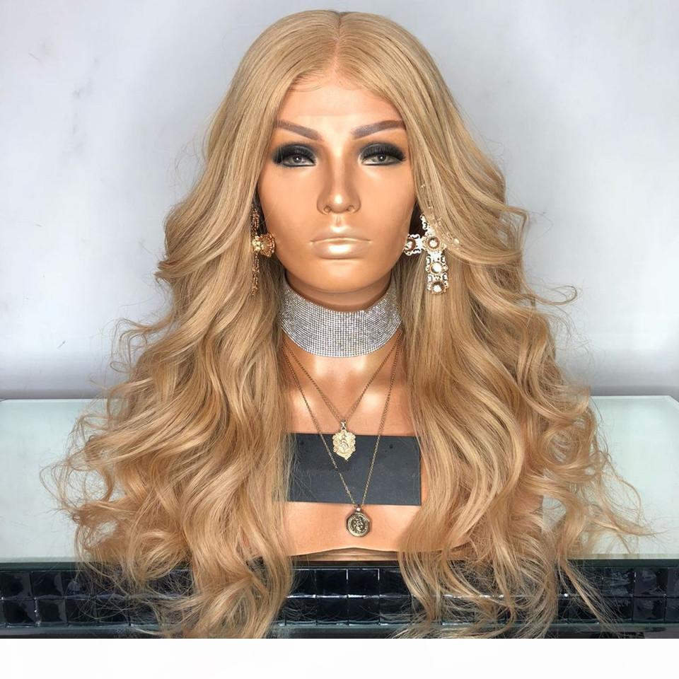 Brasiliana Body Wave # 27 Blonde di miele dei capelli parrucca anteriore del merletto 13x6 Pizzo anteriore umano parrucche Pre-pizzico Con capelli del bambino
