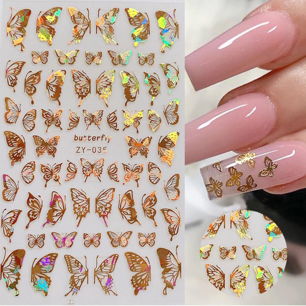 1pc Holographic 3D Butterfly Nail Art Stickers Adesivi Cursori colorati Fai da te Golden Nail Trasferimento Decalcomanie I fogli di decalspit