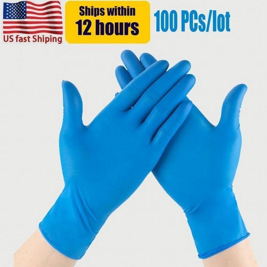 ABD Stok Mavi Nitril Tek Kullanımlık Eldiven Tozsuz (Lateks) - 100 Parça Paketi Eldiven Anti-Asit Anti-Asit Eldiven FY4036