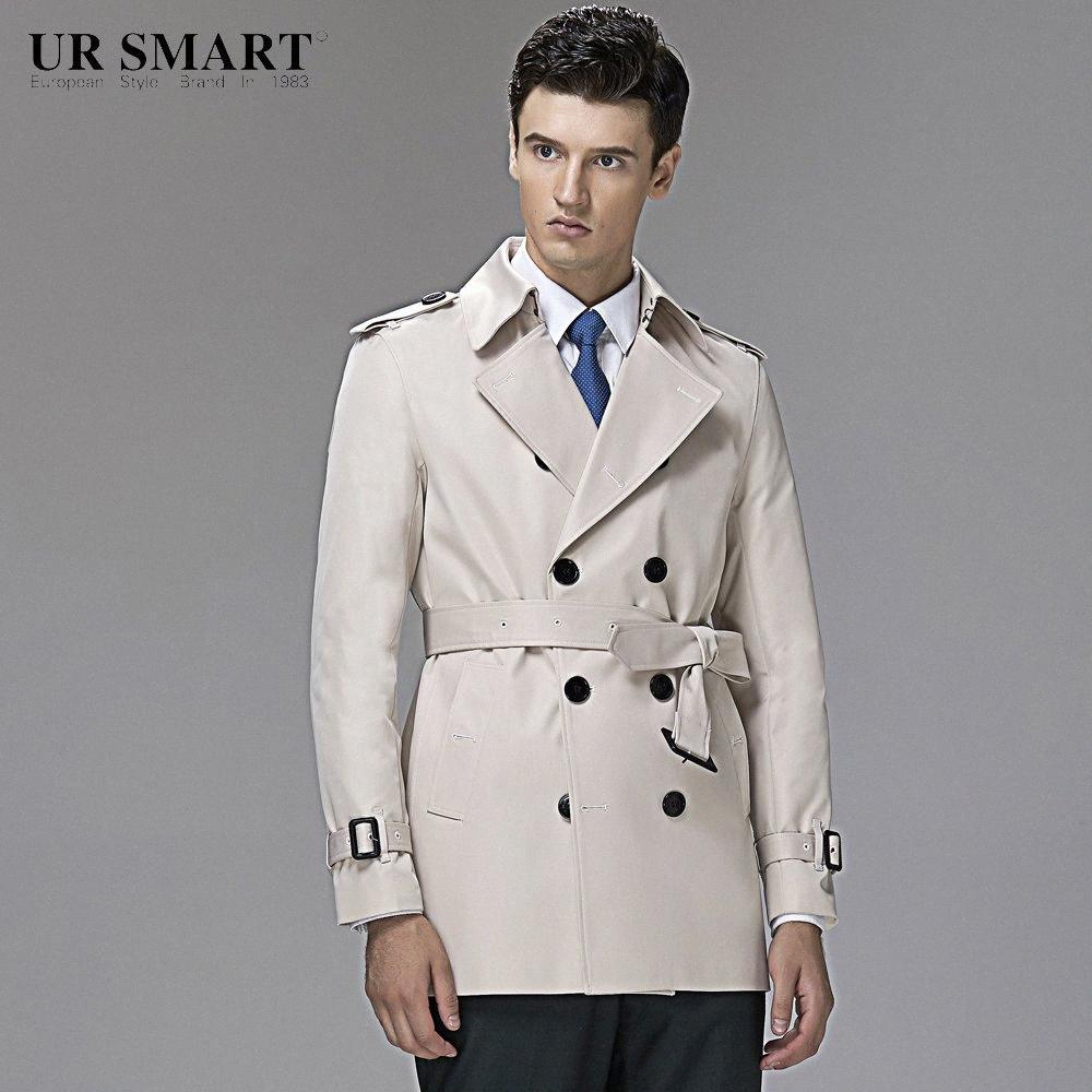 style britannique URSMART authentiques hommes à double boutonnage courte tranchée riz manteau blanc de cultiver phpX de la moralité de #